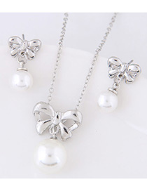 Elegant Silver Color Bowknot&pearls Decorated Jewelry Sets