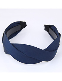 Elegant Dark Blue Pure Color Decorated Cross Design Hair Hoop