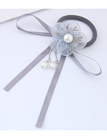 Lovely Gray Flower&bowknot Decorated Simple Hair Band