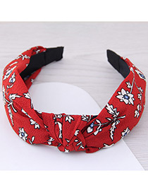 Lovely Red Flower Pattern Decorated Cross Design Hair Hoop