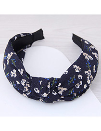 Lovely Dark Blue Flower Pattern Decorated Cross Design Hair Hoop