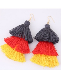 Fashion Yellow+gray+orange Tassel Decorated Color Matching Earrings