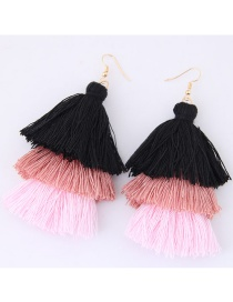 Fashion Black+light Pink Tassel Decorated Color Matching Earrings