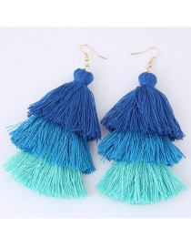 Fashion Sapphire Blue+pink Tassel Decorated Color Matching Earrings