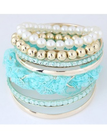 Fashion Blue Pearl&diamond Decorated Simple Bracelet