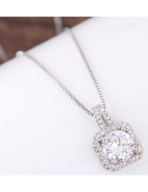 Fashion Silver Color Diamond Decorated Simple Necklace