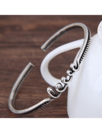 Fashion Silver Color Love Letter Shape Decorated Opening Bracelet