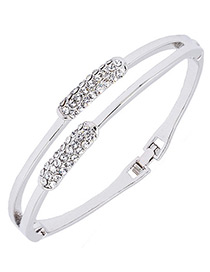 Fashion Silver Color Diamond Decorated Simple Bracelet