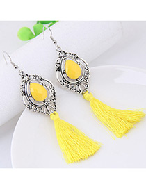 Fashion Yellow Tassel Decorated Water Drop Shape Earrings