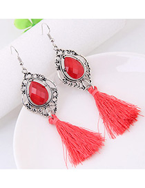 Fashion Red Tassel Decorated Water Drop Shape Earrings