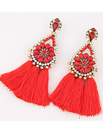 Fashion Red Diamond&tassel Decorated Simple Earrings