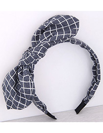 Fashion Light Navy Bowknot Shape Decorated Pure Color Hair Hoop
