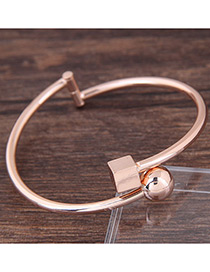 Fashion Rose Gold Round Ball Decorated Pure Color Bracelet