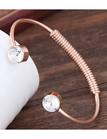 Fashion Rose Gold Round Shape Diamond Decorated Opening Bracelet