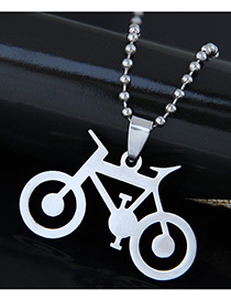 Trendy Silver Color Bike Shape Pendant Decorated Simple Necklace