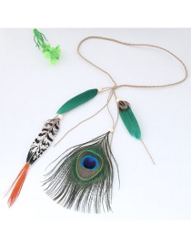 Trendy Green+orange Feathers Decorated Color Matching Hair Band