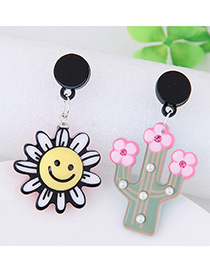 Lovely Yellow+pink Sunflower&tree Decorated Simple Earrings