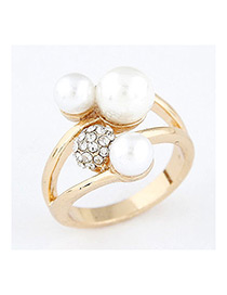Sweet Gold Color Pearls&diamond Decorated Simple Ring