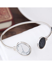 Elegant Silver Color Round Shape Decorated Opening Bracelet