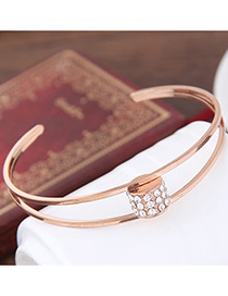 Elegant Rose Gold Oval Shape Decorated Double Layer Brecelet