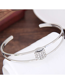 Elegant Silver Color Oval Shape Decorated Double Layer Brecelet