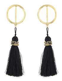 Bohemia Black Chain Decorated Tassel Earrings