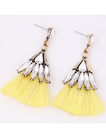 Bohemia Yellow Tassel Decorated Earrings