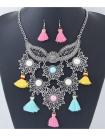Fashion Multi-color Tassel Decorated Flower Shape Jewelry Set