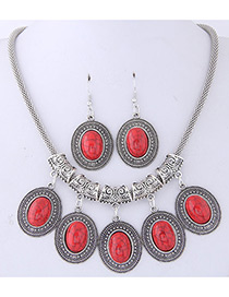 Fashion Red Oval Shape Gemstone Decorated Jewelry Sets