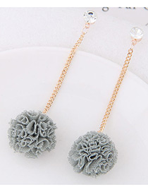 Sweet Gray Flower Pendant Decorated Long Earrings