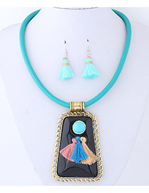 Trendy Blue+green Tassel Decorated Sector Shape Jewelry Sets