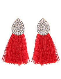 Bohemia Red Oval Shape Decorated Tassel Earrings