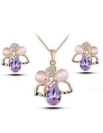 Elegant Purple Waterdrop Shape Diamond Decorated Jewelry Sets
