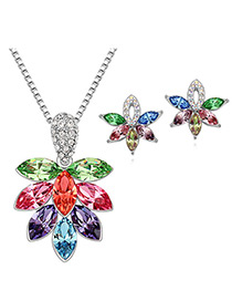 Elegant Multi-color Oval Shape Diamond Decorated Jewelry Sets