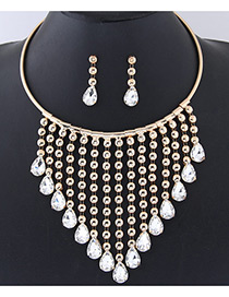 Fashion Gold Color Round Shape Decorated Jewelry Sets