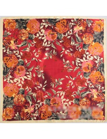 Fashion Red Flower Pattern Decorated Square Shape Scarf