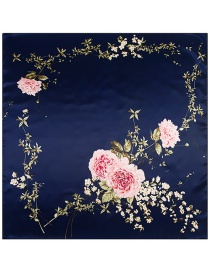 Fashion Navy Flower Pattern Decorated Square Shape Scarf