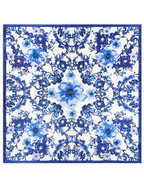 Fashion Blue Flower Pattern Decorated Simple Scarf
