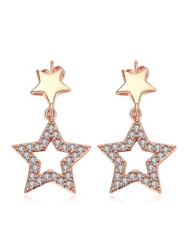 Fashion Rose Gold Hollow Out Star Decorated Earrings