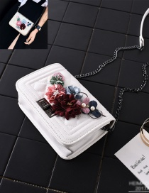 Fashion White+red Flower Decorated Square Shape Pure Color Shoulder Bag