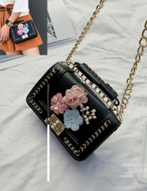 Fashion Black Flower&chain Decorated Pure Color Shoulder Bag