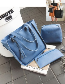 Fashion Blue Tassel Decorated Pure Color Handbag (7 Pcs)