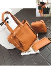Fashion Light Brown Tassel Decorated Pure Color Handbag (10 Pcs)