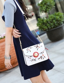 Fashion White Embroidery Flower Decorated Pure Color Shoulder Bag