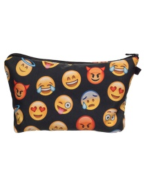 Fashion Black Expression Pattern Decorated Cosmetic Bag