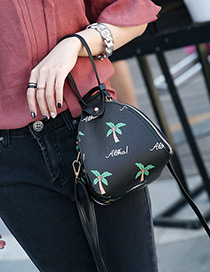 Elegant Black Coconut Tree Pattern Decorated Lantern Bag
