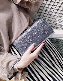 Fashion Silver Color Square Shape Decorated Wallet