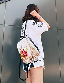 Fashion Beige Tower Shape Decorated Backpack