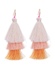 Fashion White Tassel Decorated Color Matching Earrings