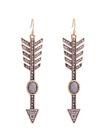 Fashion Antique Gold Diamond Decorated Arrow Shape Pure Color Earrings